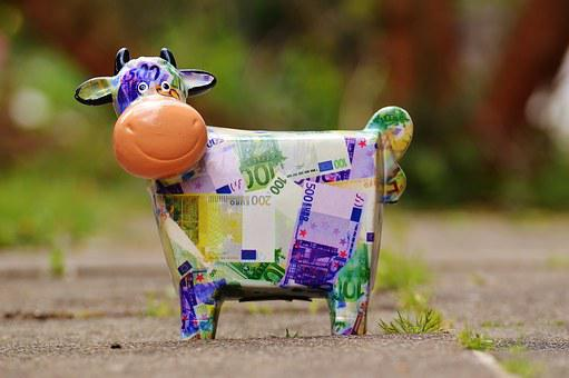 Cow, Save, Money, Piggy Bank, Funny, Ceramic, Bank Note