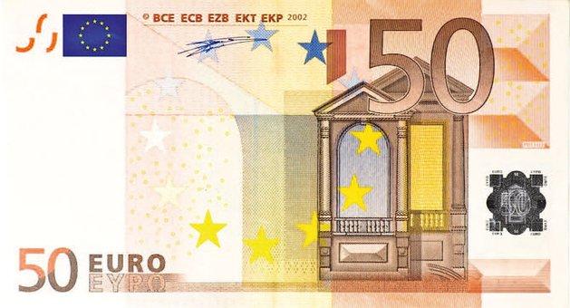 Dollar Bill, 50 Euro, Money, Banknote