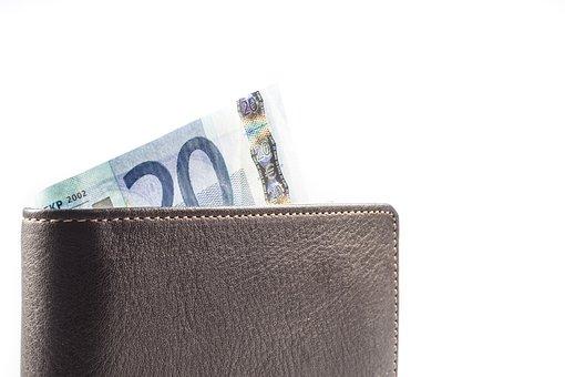 Purse, Wallet, Money, 20, Twenty, Euro, Business