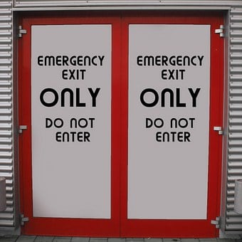 Emergency Exit, Output, Door, Closed, Exit, No Entry