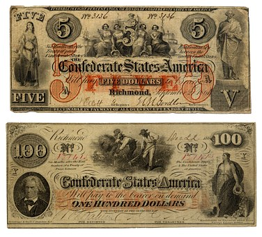 Bills, Confederate States Of America, Dollar, Bank Note