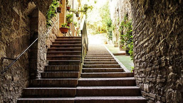Stairs, Level, Away, Emergence, Staircase, Stone