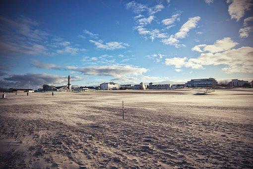 Baltic Sea, Warnemünde, Sea, Beach, Empty