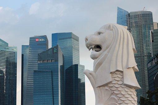 Singapore, Statue, Fountain, City, Sea Lion, Lion, Fish