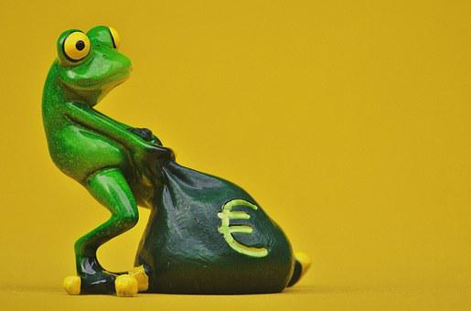 Frog, Money, Euro, Bag, Money Bag, Funny, Cute, Fun
