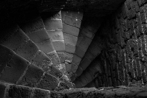 Stairs, Stone, Away, Down, Ruin, Castle, Gradually