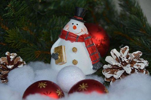 Snowman, Christmas, Christmas Balls, Balls, Holly