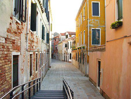 Alley, Venice, Italy, Side Street, Architecture, Homes