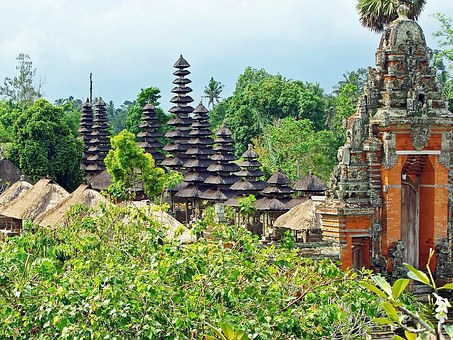 Indonesia, Bali, Temple, Mengwi, Multiple Roofs