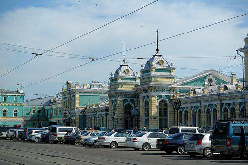 Irkutsk, Railway Station, Russia, Architecture, Train