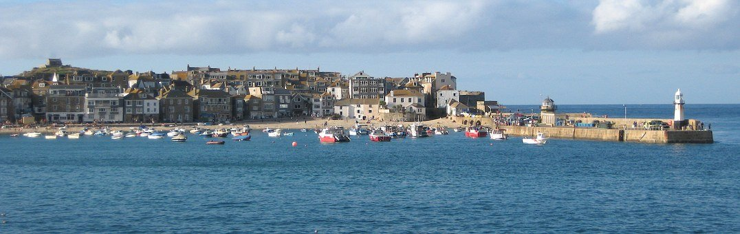 St Ives, Cornwall, Water, Lighthouse, Harbour Wall