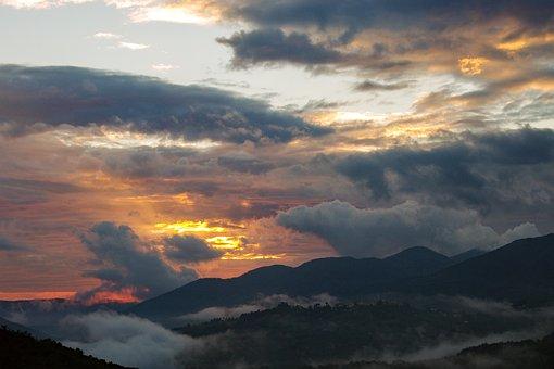 Sunset, Autumn, Clouds, Mist, Nightfall, Evening