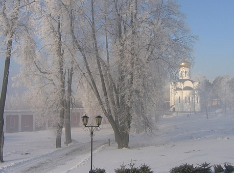 Winter, Russia, Snow, Morning, Monastery, Frost, Leann