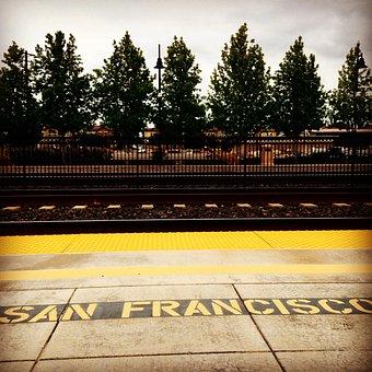 Caltrain, Platform, Northbound, San Francisco, Trees