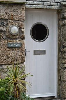 Door, Porthole, St Ives, White, Frame, Nautical, Marine