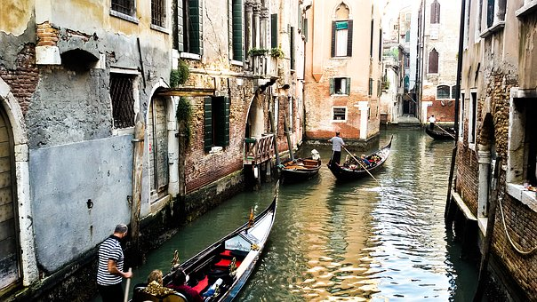 Venetian, Italy, Boat, Blue, Old, Cityscape, Ruins
