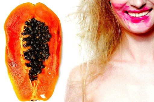 Papaya, Girl, Tropical, Fruit, Female, Orange, Seeds
