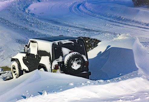 Jeep, Winter, Snow, Car, Covered In Snow, Stucked
