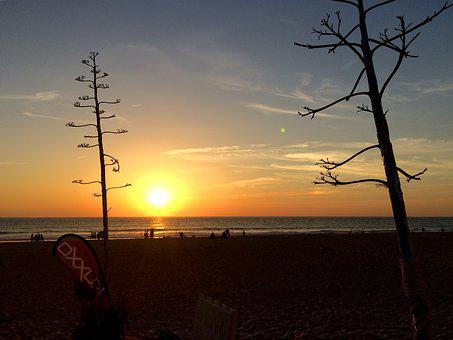 Sunset, Beach, Sun, Sky, Sea, Sancti Petri, The Muddy