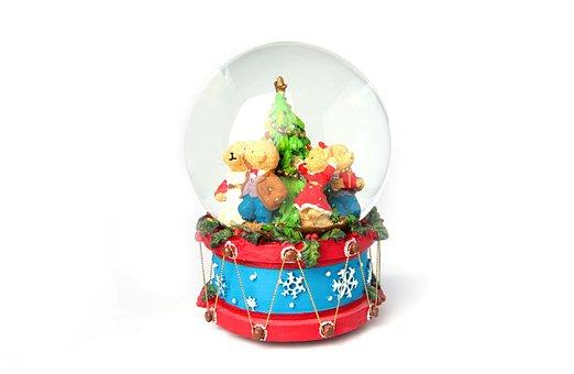 Christmas, Game Clock, Snow Ball, Toys, Music Box