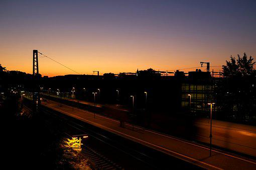 Railway Station, Twilight, Evening, Sunset, Atmosphere