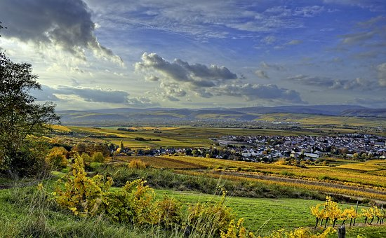 Valley View, Autumn, Vineyards, Rhine Valley, Clouds