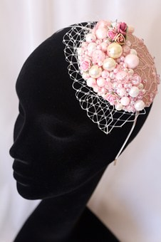 Pearls, Wedding, Bride, Pink, Ivory, Head Band, Retro
