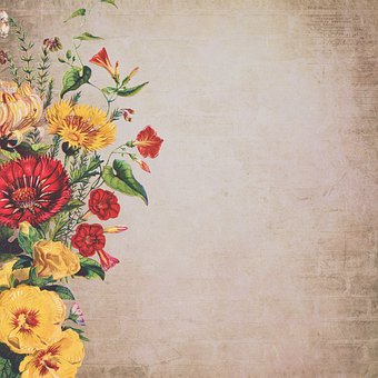 Vintage, Bouquet Of Flowers, Paper, Background