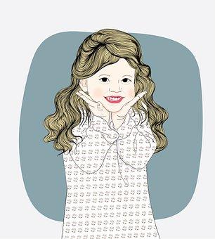 Little Girl, Curly Hair, Blonde, Blonde Girl, Smile