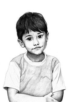 Boy, Child, Sketch, Little Boy, Kid, Portrait