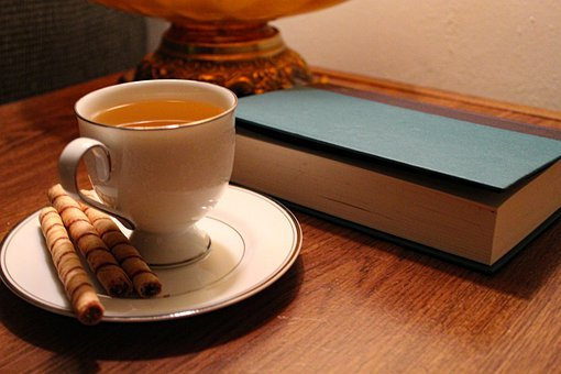 Tea, Cookies, Drink, Snack, Cafe, Book, Reading
