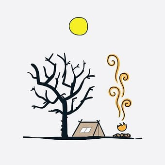Tent, Campfire, Forest, Tree, Camping, Snow, Landscape