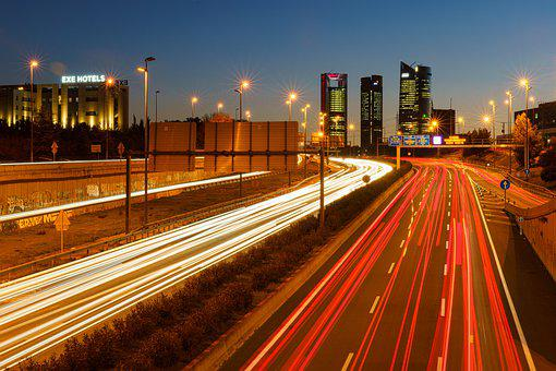Madrid, Highway, Cars, Lights, Road, Night, Circulation