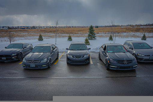 Cars, Ford, Mercedes, Saab, Vw, Clouds, Parkinglot, New
