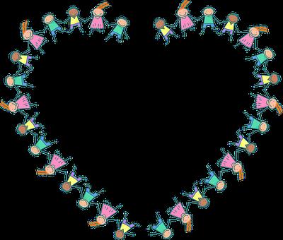 Kids, Heart, Frame, Stick Figure, Children, Love