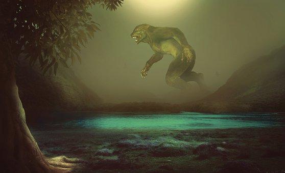 Werewolf, Giant, Forest, Tree, Beast, Fantasy, Monster