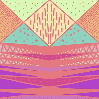 Art, Abstract, Pink, Green, Orange, Purple, Triangle