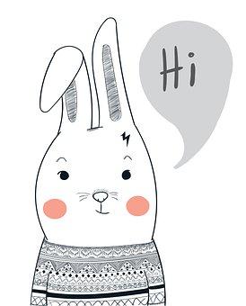 Rabbit, Hi, Greeting, Bunny, Bunny Ears, Rabbit Ears