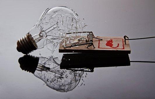 Light Bulb, Glass, Mousetrap, Light, Lamp, Current