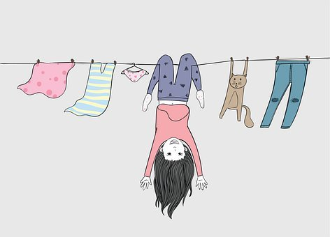 Girl, Upside Down, Clothesline, Clothes, Laundry, Cat