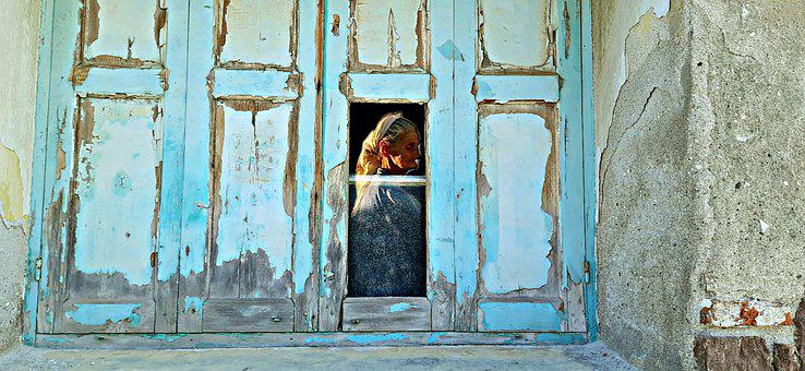 Blue Window, Old, Woman, Loneliness, Old Age, Sadness