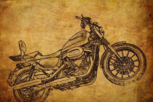 Motorcycle, Sketch, Machine, Technology, History, Model