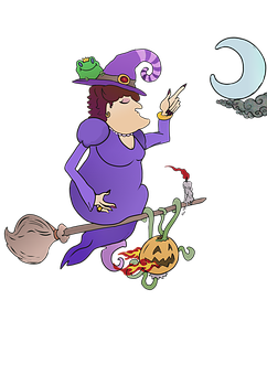 Witch, Illustration, Broom, Magic, Sorcery, Pumpkin