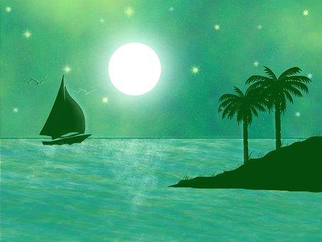 Night Moon, Green Night, Moon, Night, Sky, Green