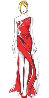 Woman, Fashion, Sketch, Dress, Outfit, Girl, Female