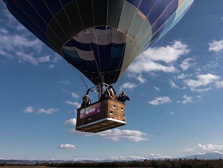 Hotairballoon, Mongolfiera, Cielo, Blu, Palloncino