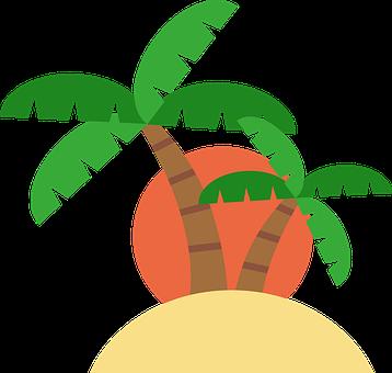 Island, Trees, Sunset, Sunrise, Palm Trees