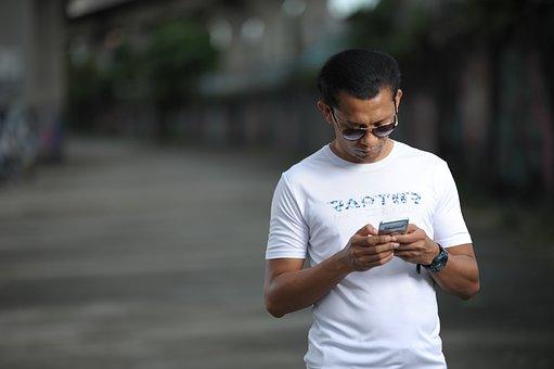 Man, Phone, White Shirt, Shades, Eyeglasses, Eyewear