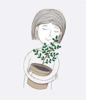 Woman, Plant, Hug, Hugging, Embrace, Pot, Potted Plant