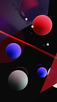 Random, Sphere, Wallpaper, Screensaver, Red, Blue